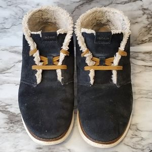 Cole Haan black booties with sherpa lining